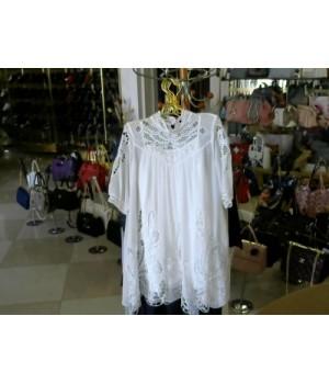 Платье белое свободный крой  шифон-кружево Amodediosa (7769) [Белый]
