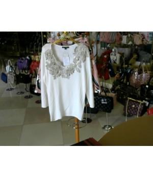 Блуза с длин рукавом бел цв горловина украшена ажурными цветами Philipe carate (C2-6) [Бело-бежевый]