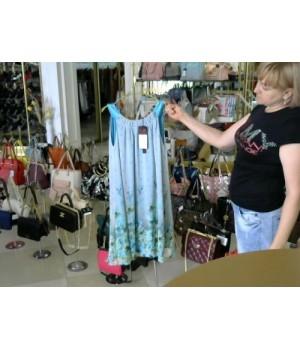 Платье сарафан шифон в мелкий голубой цветок Eleni Viare (00397D) [Бирюса]