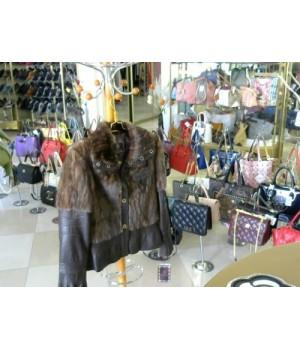 Куртка норка/кожа Oumeisiao 5021 [коричневый]