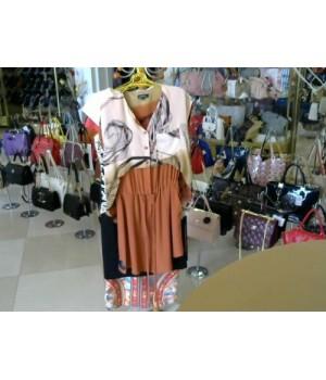 Платье 100% шелк короткий рукав Gucci [оранжевый]