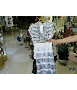 Костюм нежно сереневого цвета юбка блуза F.CARAT (A327) (A324) [бело-зеленый]