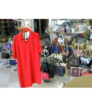 Платье красного цвета рукав до локтя золото цепи ELENA VIARE (3016) [красный]