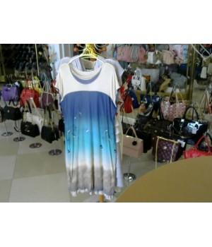 Платье принт море PASTOROS (16706) [бежево-синий]