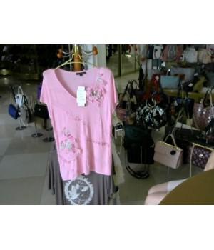 Футболка розовый цвет  отделка ажур цветы  FILIP CARAT (351) [розовый]