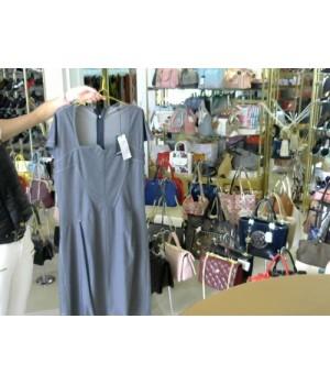 Платье короткий рукав синий джинс сзади разрез OBLIUC(15A1539) [Светло-сер]