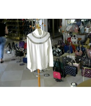 Блуза с бел кольца метал  LEO CUY(WB4079) [Белый]