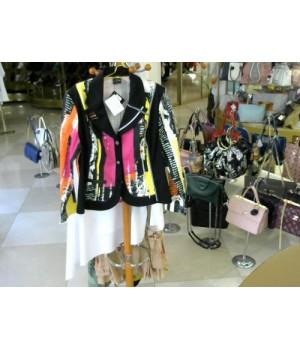 Пиджак цветной PAUSE CAFE (11130) [черно-розовый]
