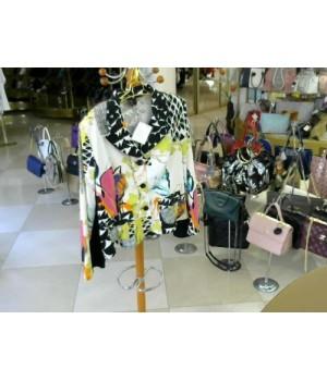 Пиджак цветной на пуговицах PAUSE CAFE [Бело/бирюз]