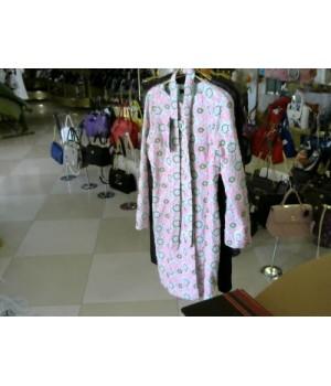 Плащ бело розовый зеленый набивное кружево ELENE VIARE (02957C) [Бел/розов]