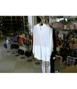 Бомбер бел цвет сетка катон   DONA DE SOCNO  D195Bis [Белый]