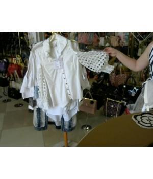 Блуза молочного цвета рукав вязаное кружево  ELISA COVALETTI slp181062603 [Молочный]