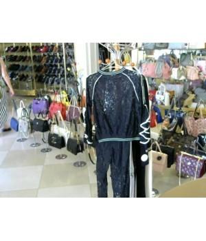Костюм черного цвета кружево блуза +брюки AMADEDIOSA 9338 [Бел/черн]
