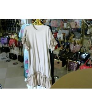 Платье беж цв трикотаж футболка с рюшей  98827 [Бежевый]