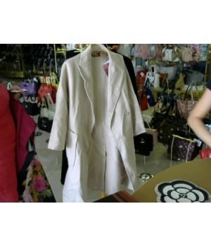 Пальто на запах бежево розовое по бокам большой карман MAX MARA 5057 [Бежевый]