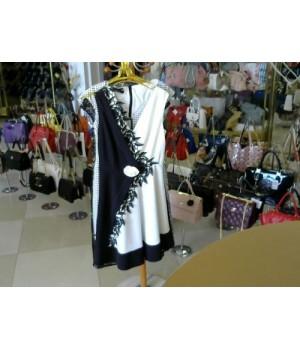 Платье наполовину черное цветок на талии CANELLA 103025 [Бел/черн]