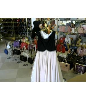 Платье без рукав верх черный низ беж шефон ISABEL CARSIA  BN1339