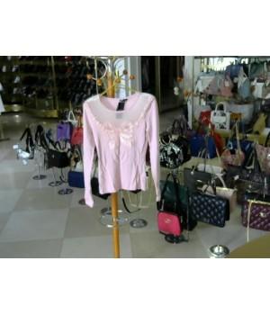 Блуза длиный рукав открытое декольте спереди сетка + декоративный бантик в паетках [розовый]