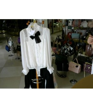 Блуза белый - боди шефон с кружевом + брош-бант   sCloud (2470) [Белый]