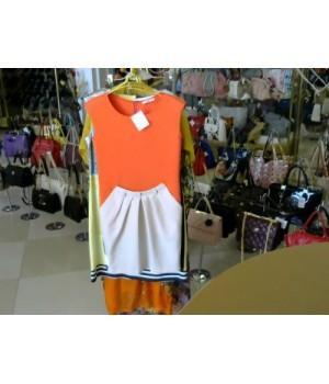 Платье оранж без рукавов спереди низ молочный по бокам карманы сзади золотая молния низ серый Prada (34678) [оранжевый]