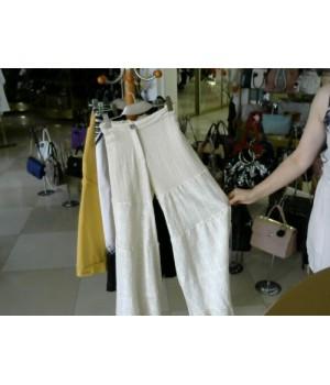 Брюки молочного цвета хлопок (кружевная штанина) Maribe (5232) [Белый]