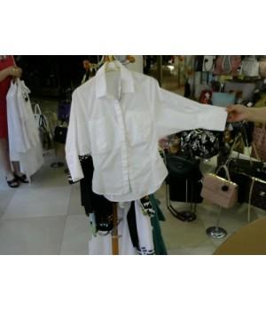 Блуза молочного цв хлопок 3/4 рукав летуч мыш TEMERIL2416 [Белый]