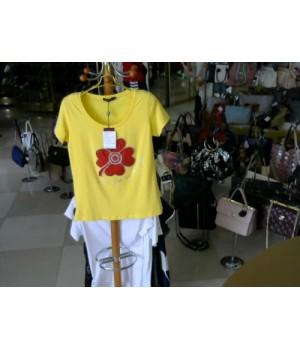 Футболка желт цв на груди цветок в стразах 1308 Lov bebe 1308 [Желтый]