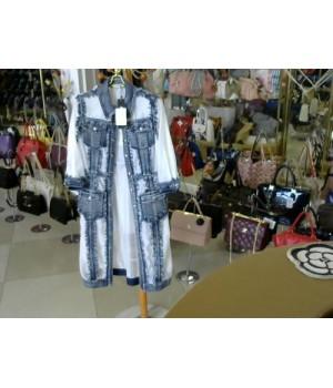 Кардиган джинс с бахрамой сетка AMADEDIOZA 8389+ сумка [Бело-синий]