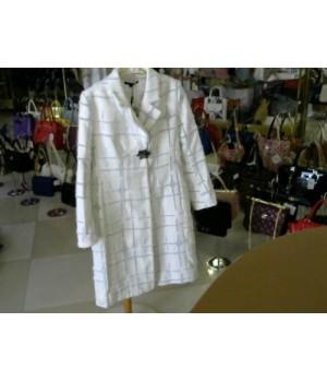 Пальто класика бело/сер Eleni Viare 167092 [бело-серый]