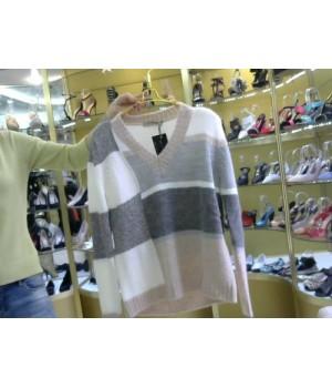Пуловер с морск встав Rinascimento 95 AA сер/роз/бел