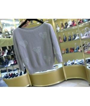 Пуловер с сердцами  Rinascimento 95 AA сер дым