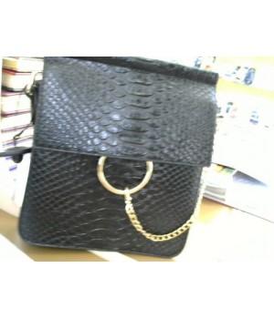 сумка (8833313)  [Черный] маленькая формов под рептилию застежка золотое кольцо