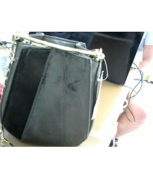 сумка 8101 маленькая сумкакапелька комбинация кожи и  замши [Малахит]