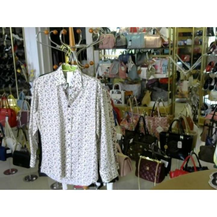 Сорочка белая в сирен цветочек ворот и манжет салат DsG (HB5) [бело-серый]